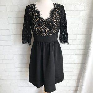 Eliza J Lace & Faille Black Party Dress 8P